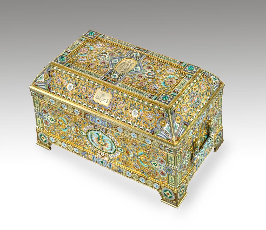 Cloisonné-enamel ed silver casket
