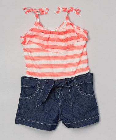 Look what I found on #zulily! Pink Stripe & Denim Romper - Infant, Toddler & Girls #zulilyfinds