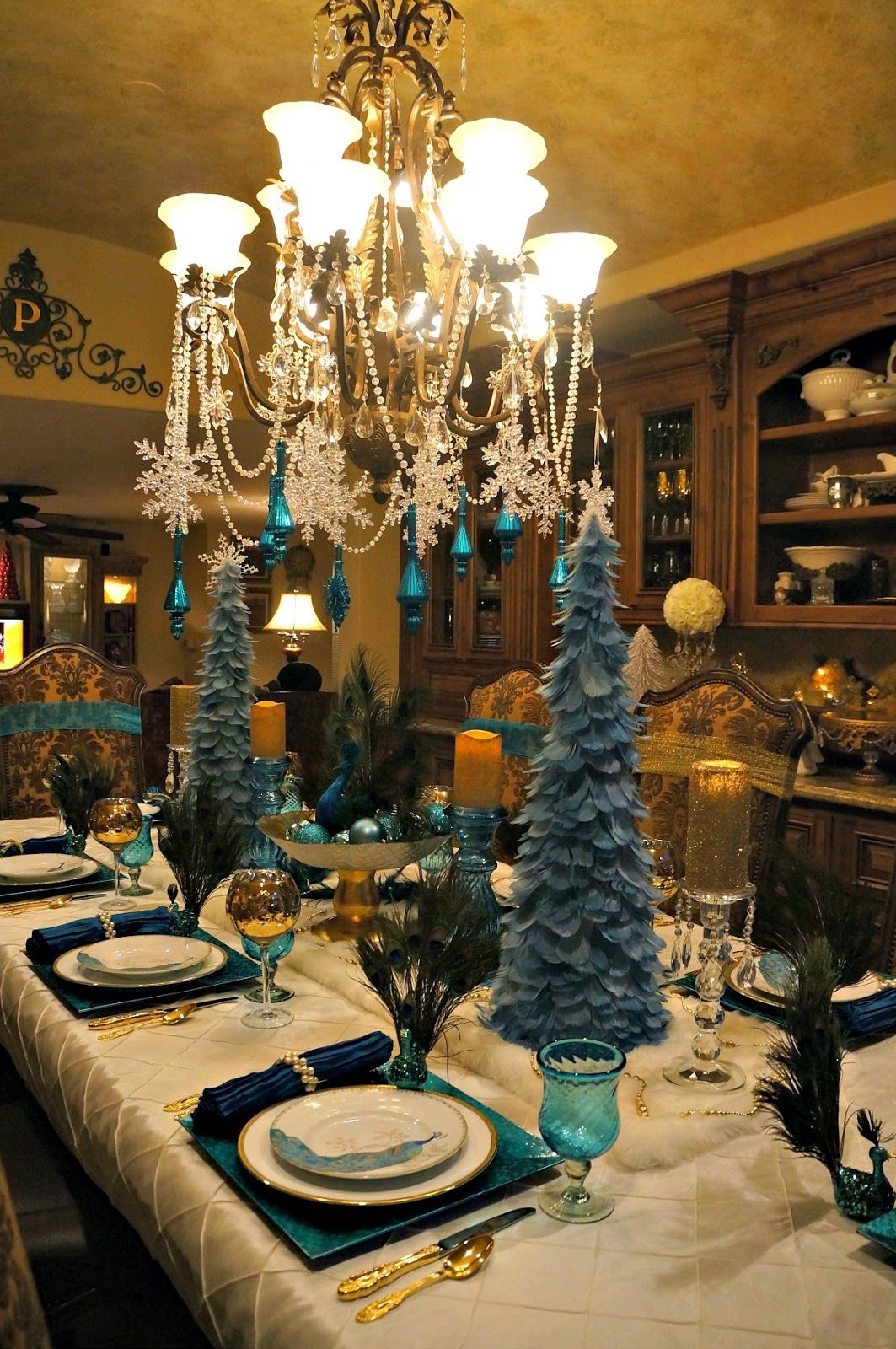 Peacock Tablescape With Aqua Amp Gold Peacock Christmas