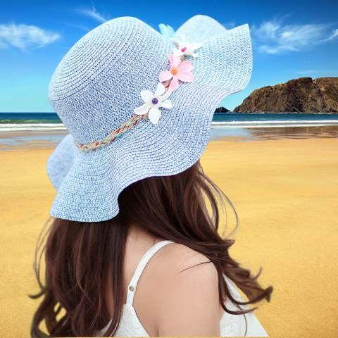 df1c6300 Flouncing straw beach hats beautiful flower sun hat for girls ...