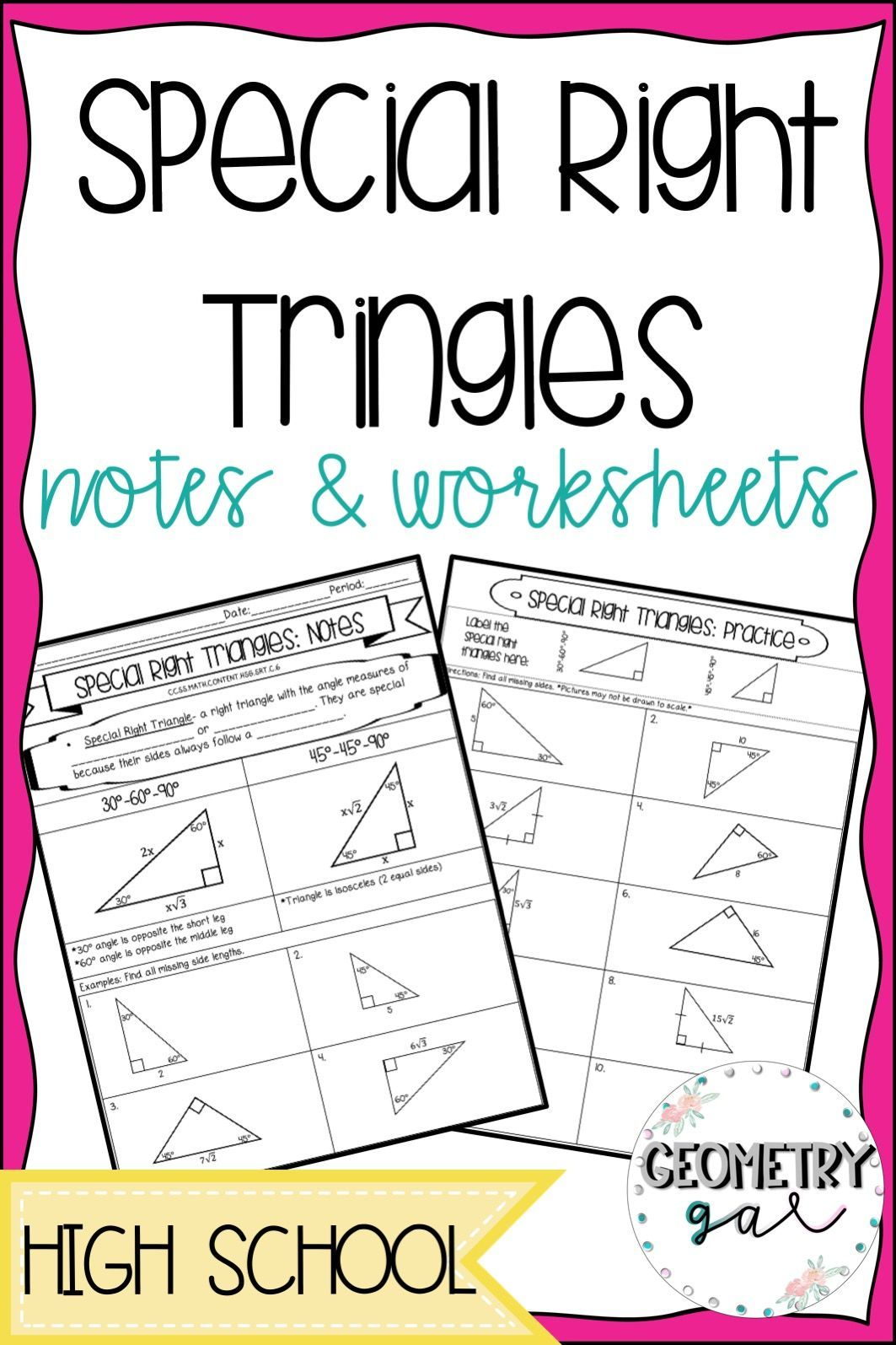 Special Right Triangles Guided Notes Amp Worksheets