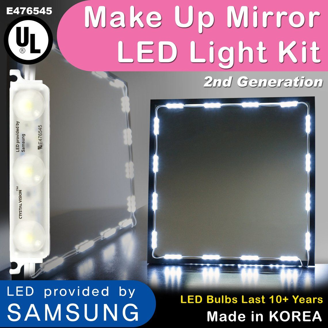 MAKE UP MIRROR LED LIGHT WARM WHITE COLOR WITH DIMMER /& UL POWER ADAPTER