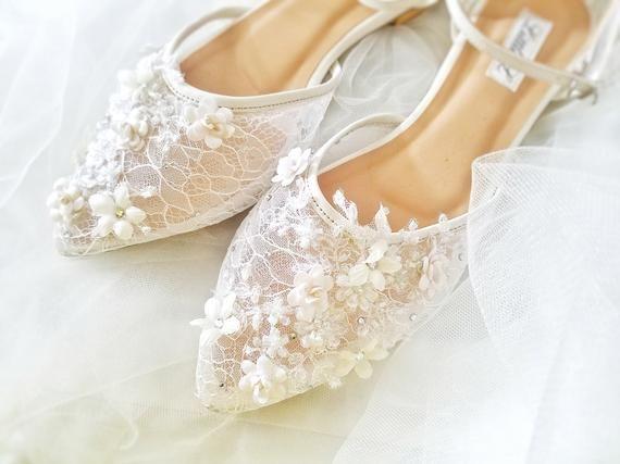 Wedding Shoes White Flower Lace Rhinestone Pearl Custom Heels Or Flats White Wedding Shoes Custom Heels Wedding Shoes