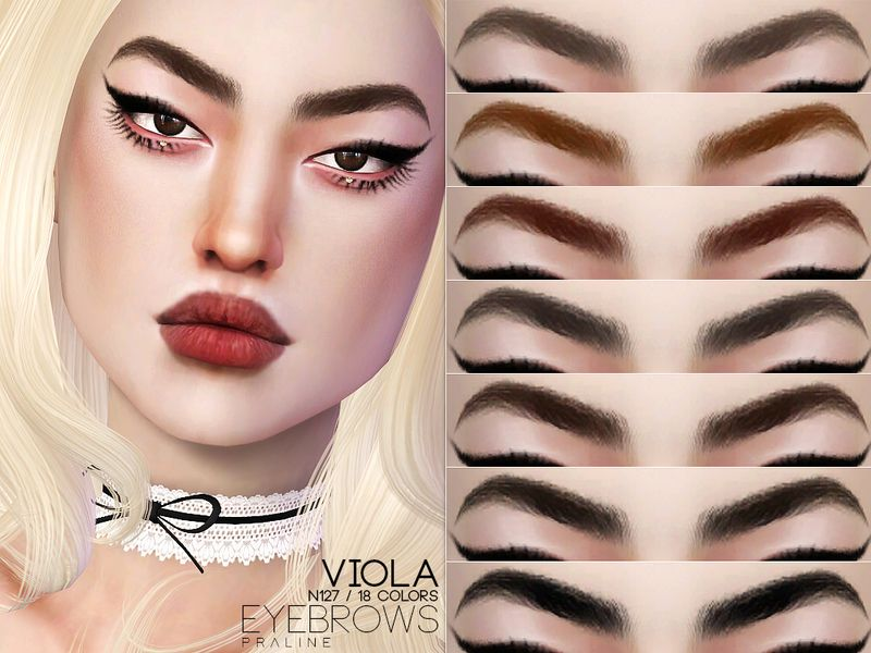 Photo of Eyebrows in 18 colors. Found in TSR Category 'Sims 4 Facial Hair'