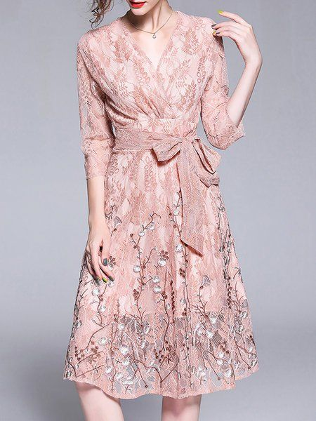 55e51616ecd Buy Midi Dresses For Women from Sicily at StyleWe. Online Shopping Stylewe  Pink Surplice Neck Date Dress 3 4 Sleeve Elegant Lace Embroidered Dress