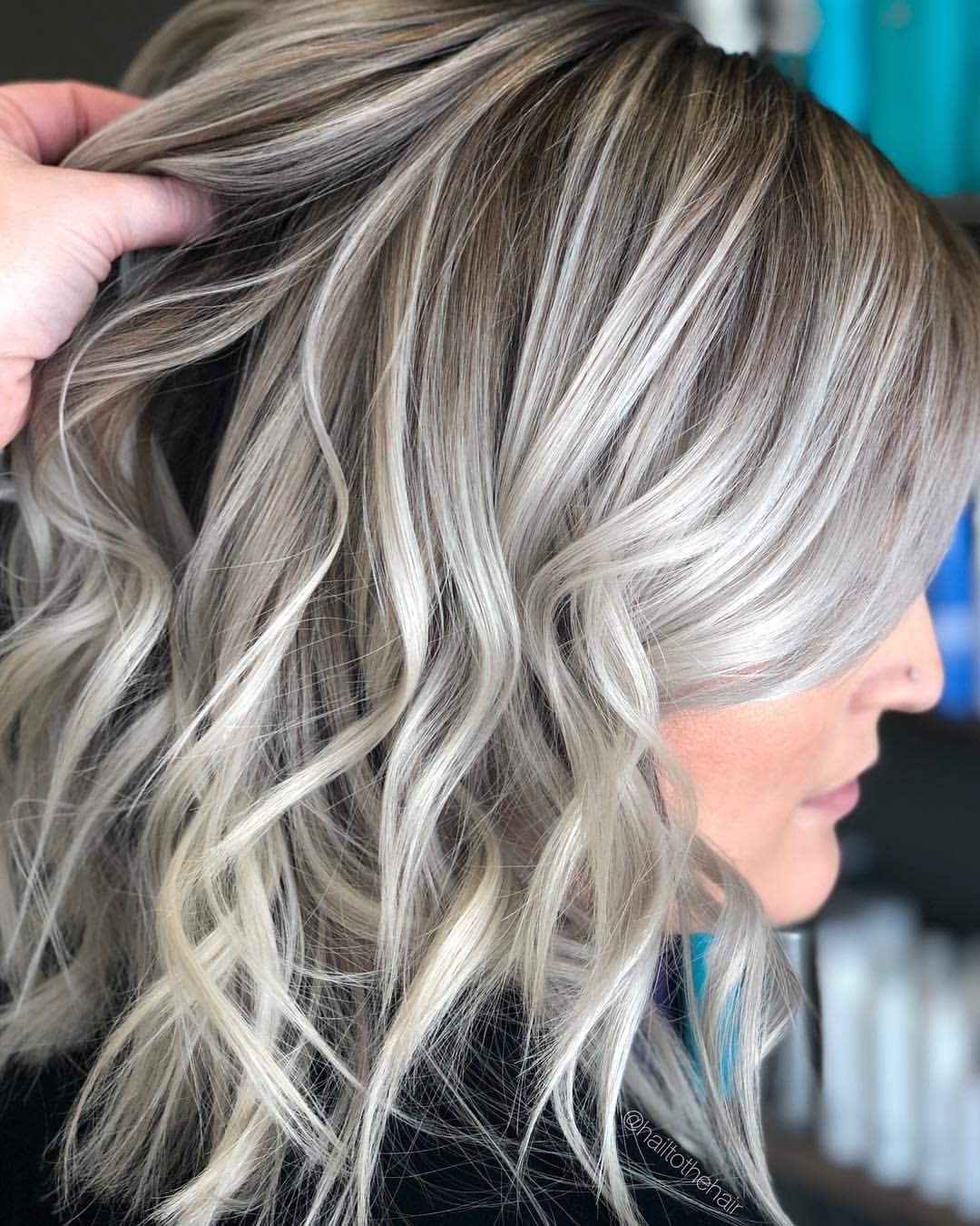 Icy Blonde Balayage Hair In 2019 Dark Roots Blonde Hair Icy
