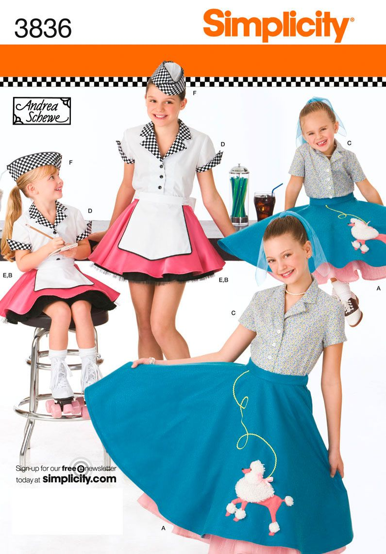 Simplicity 3836 Girls Poodle Skirt Car Hop Soda Jerk Costume Size New Uncut