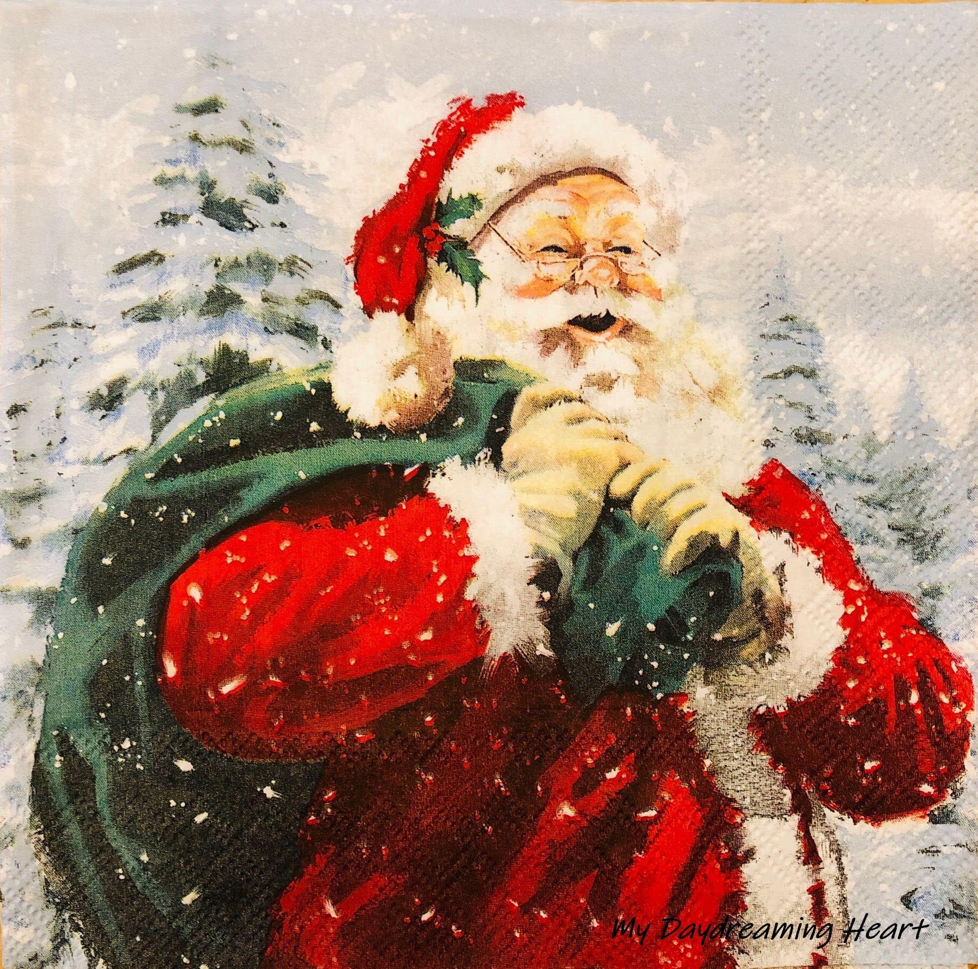 4 Single paper decoupage napkins Xmas eve fireplace -X142 Christmas winter