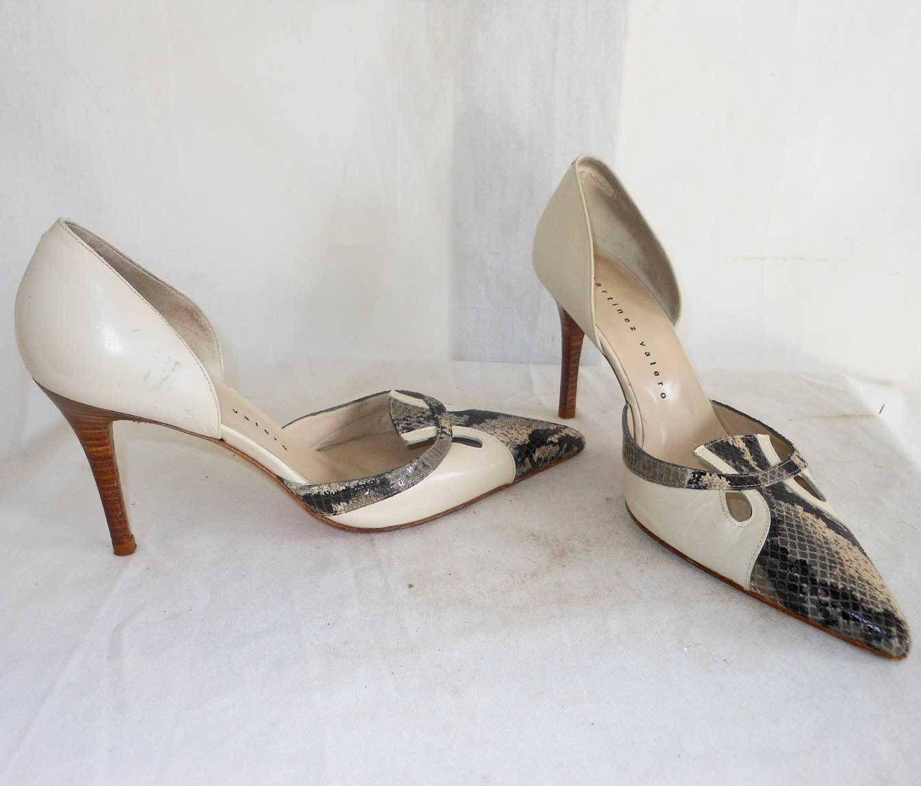 91f1a70a07725 Martinez Valero Stilettos Pumps Sandals Shoes Snake Skin Pointed Toe ...