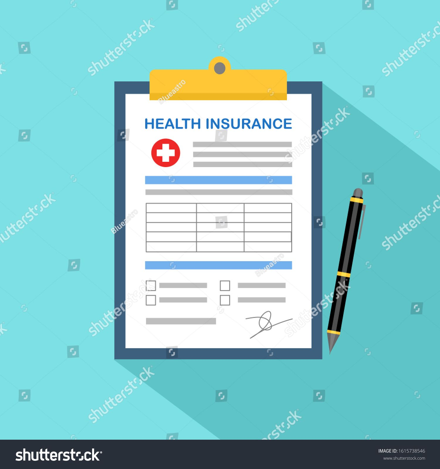 Health Insurance Clipboard With Medical Cross And Pen Health
