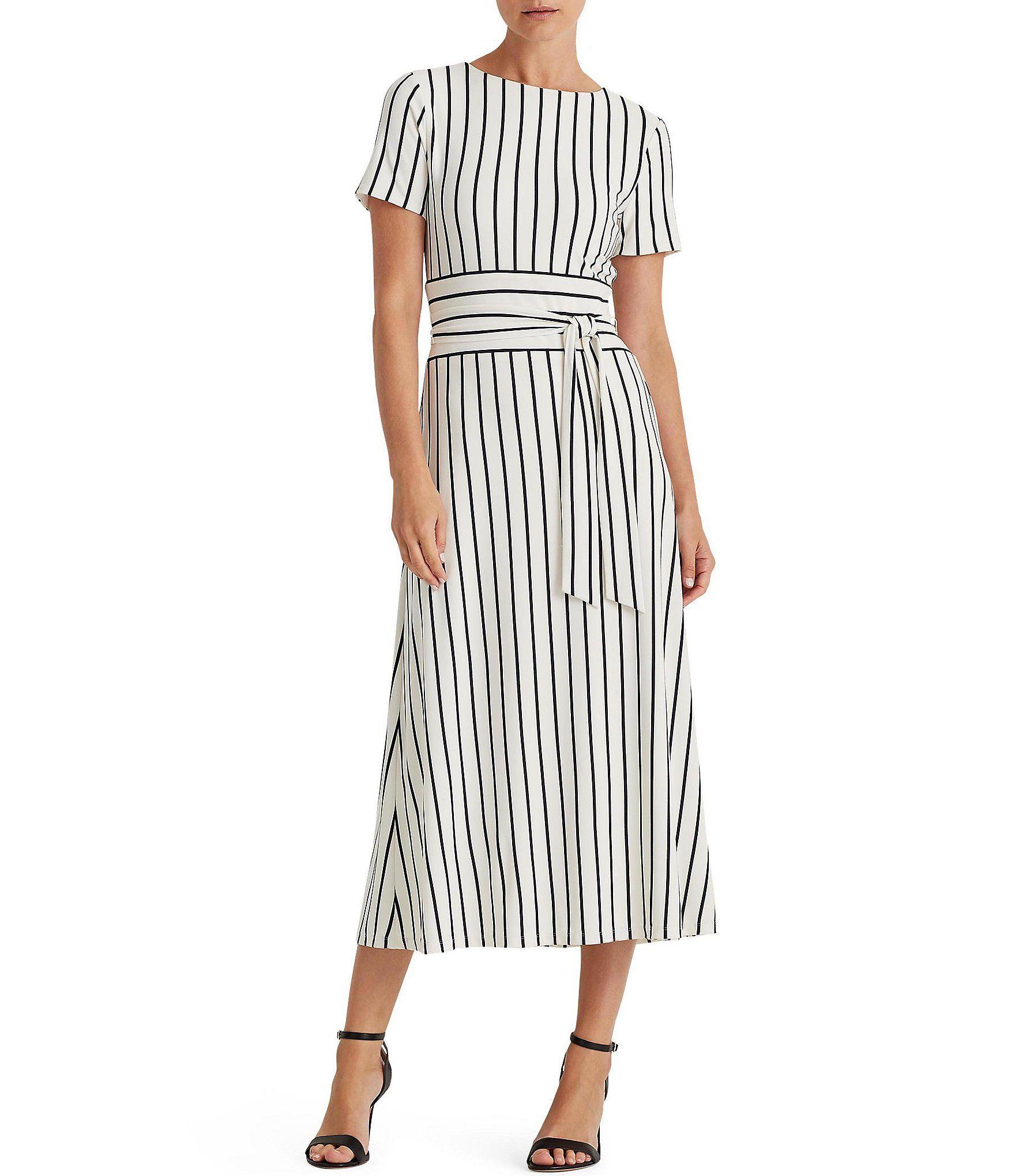 Lauren Ralph Lauren Kristie Stripe Print Matte Jersey Short Sleeve Tie Waist Dress | Dillard's