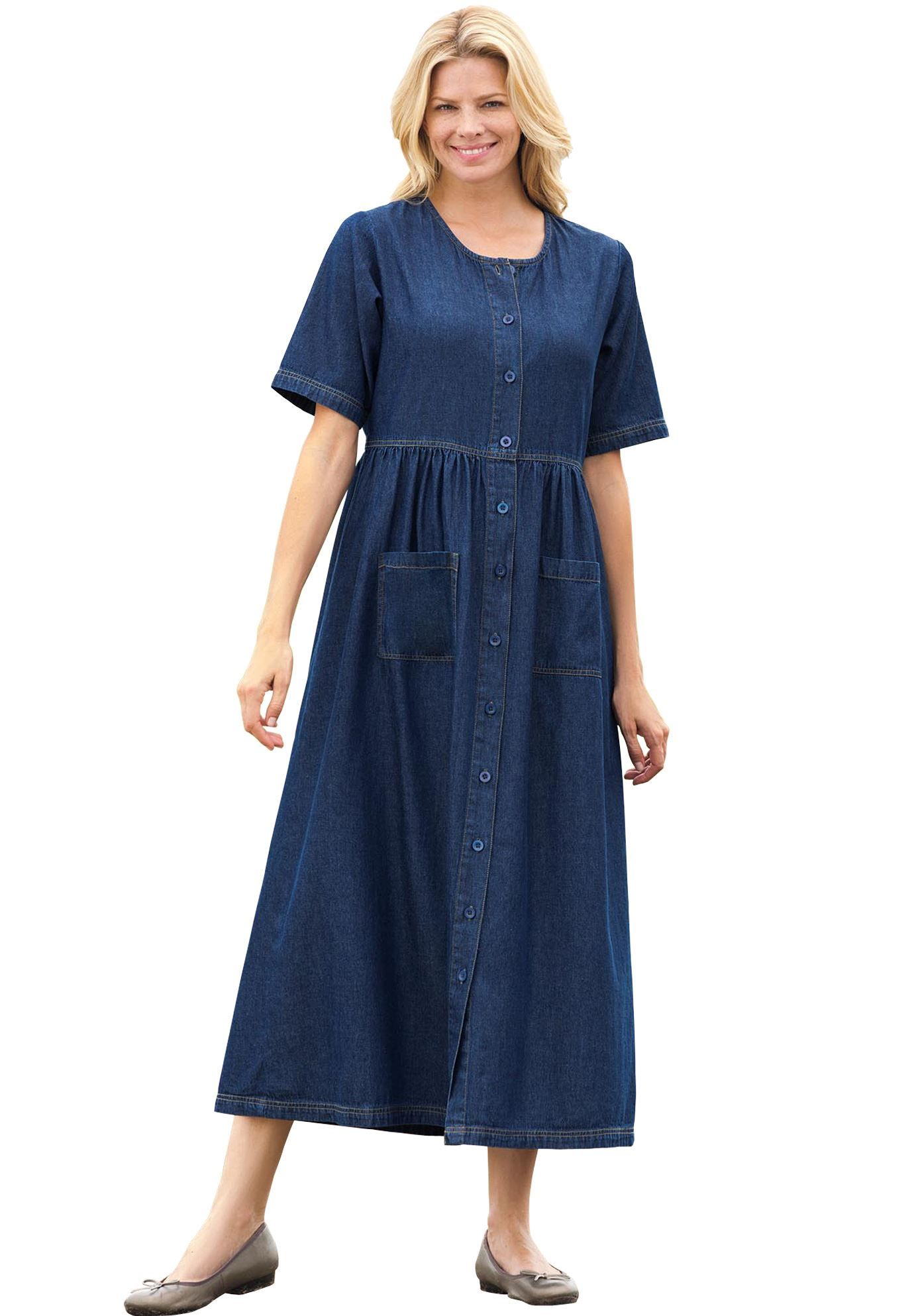 Plus size denim dresses and skirts