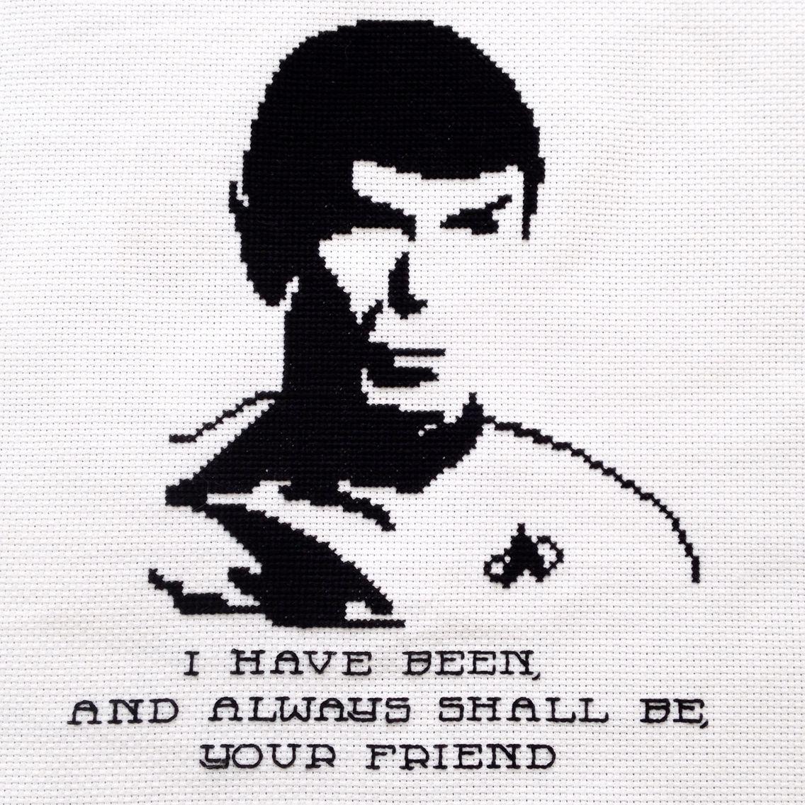 Kirk Enterprise Shatner Star Trek Cross stitch chart pattern Spock Nimoy
