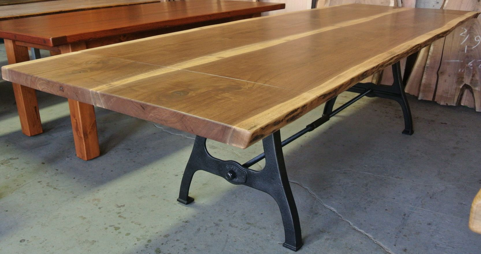 Walnut live edge table on industrial legs This table also