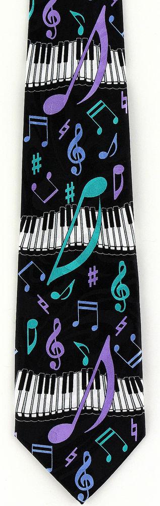 Piano Notes Mens Necktie Music Blue Necktie Musical Instrument Musician Gift