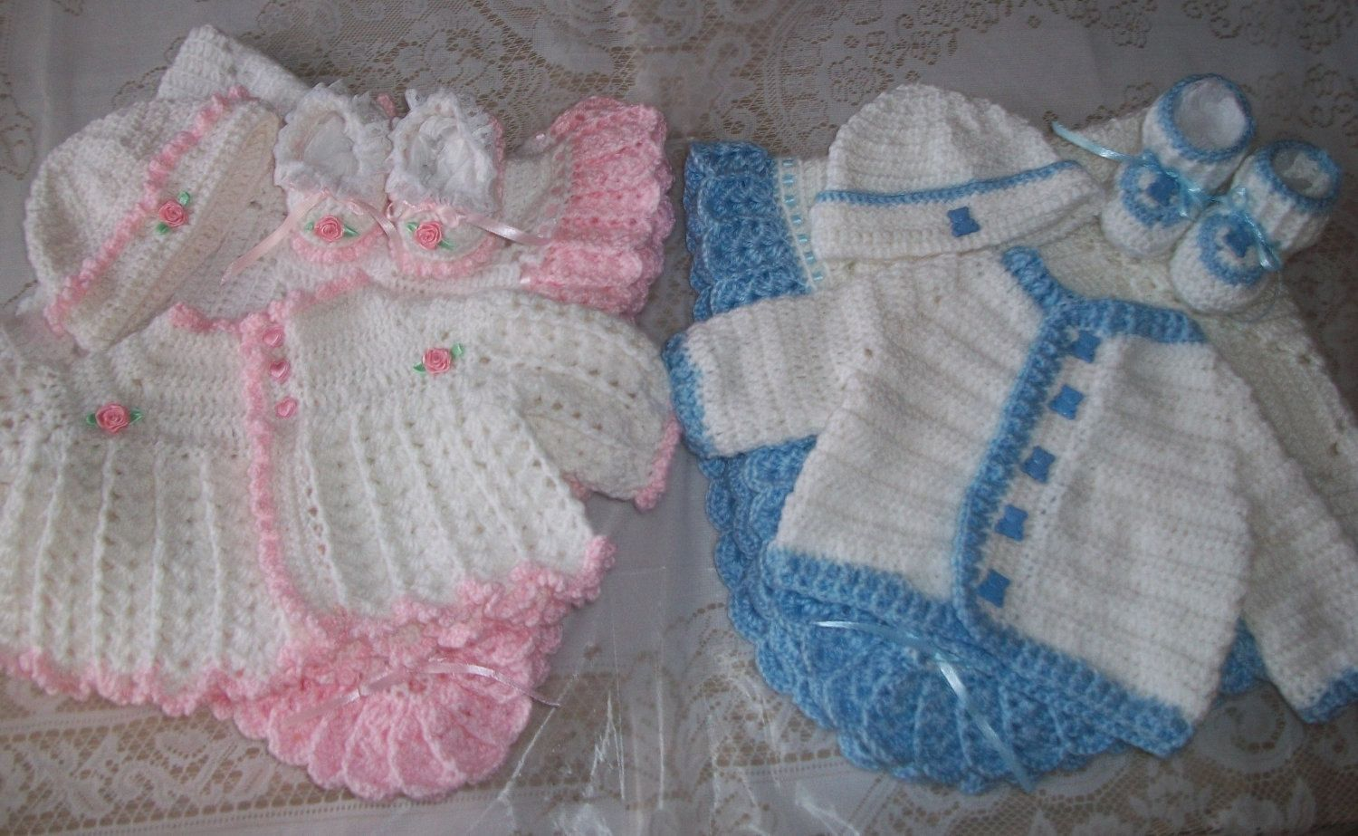 898a2367c Free Crochet Pattern For Baby Layette Sets   Boy Girl Twins Sweater ...