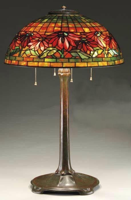 TIFFANY STUDIOS POINSETTIA TABLE LAMP.