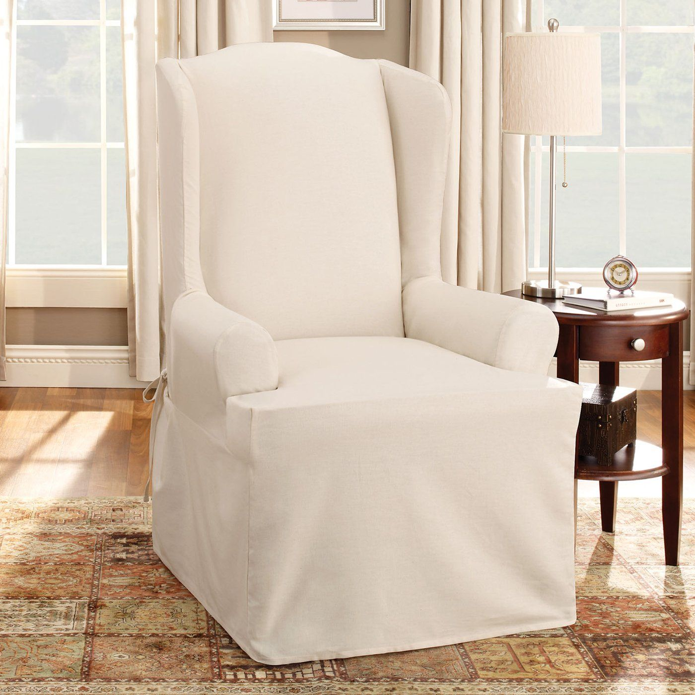 chair slip covers in store folding armless camping chairs shop sure fit slipcovers cotton duck wing slipcover at atg stores browse our all with free shipping and best price guaranteed