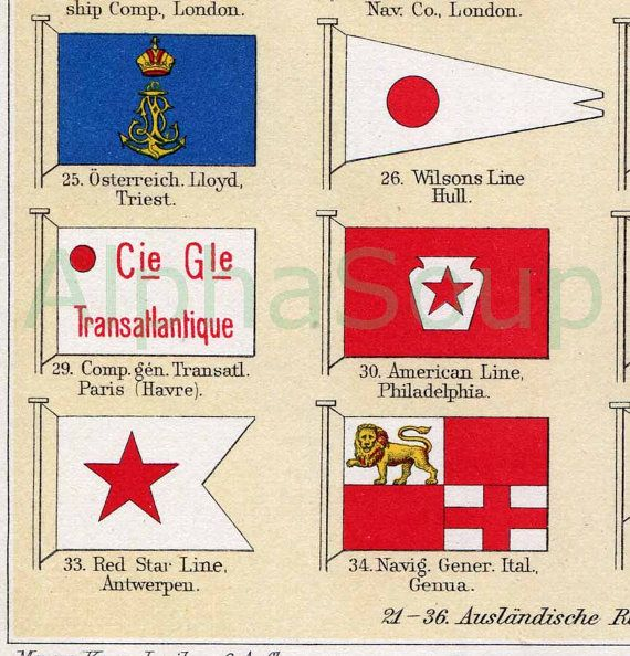 Close up view of Cruise Ships Maritime Company Flags 1909 Antique Lithograph Print $14