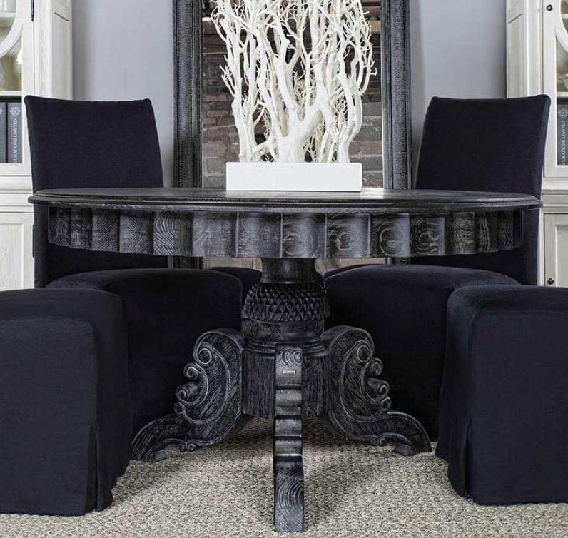 """50 Cool And Creative Shabby Chic Dining Rooms: Rare New Black French Round 55"""" Dining Room Table Rustic"""