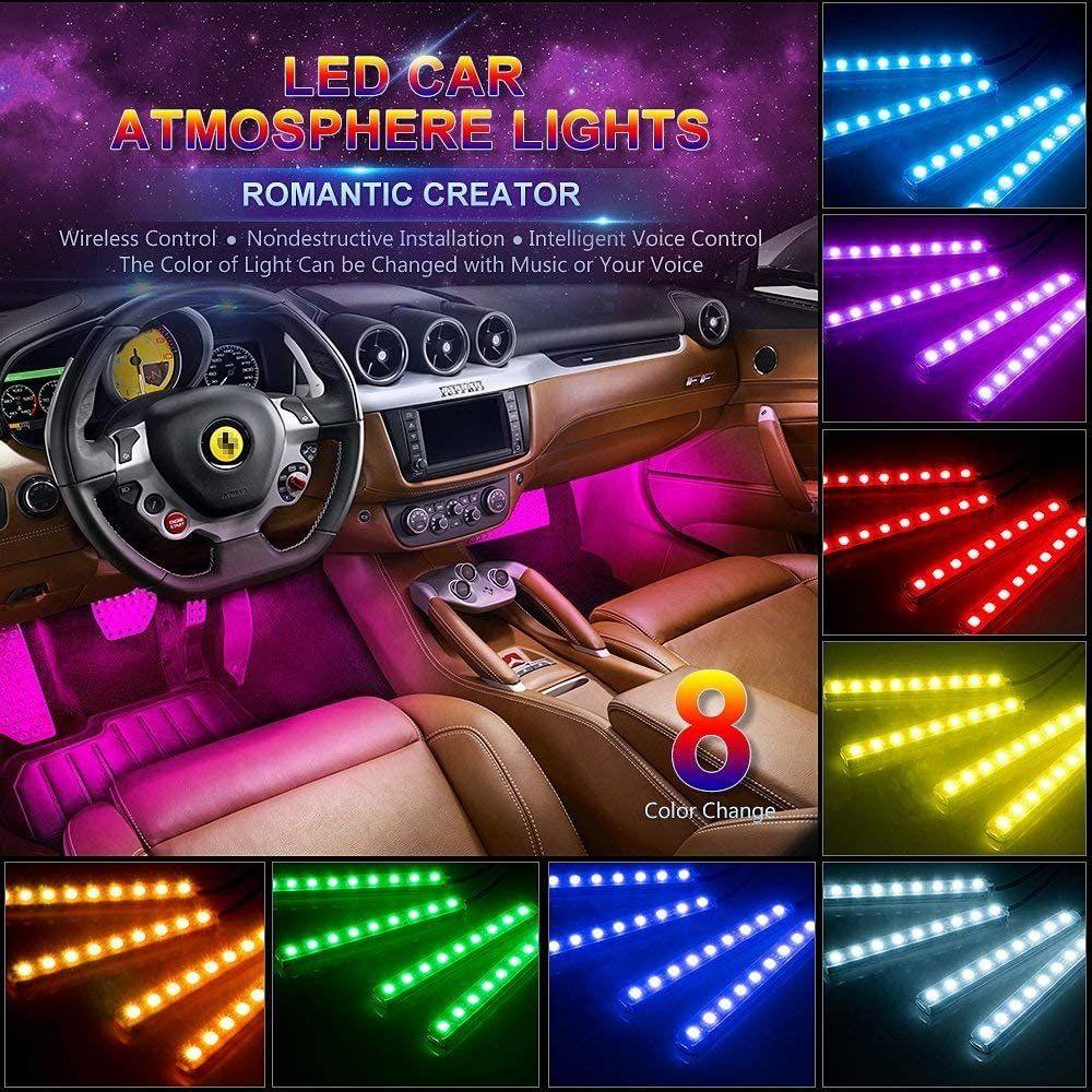 4pcs Rgb Multi Color Led Engine Bay Or Under Car Lighting Kit Phone App Control In 2021 Car Led Lights Car Led Car Interior