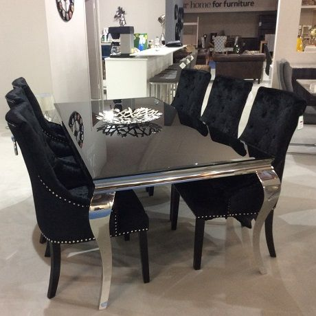 Black Glass Living Room Furniture Tropical Paint Ideas 1 795 00 200cm 8 Seats Dining Chairs Velvet Quantiply Co Table