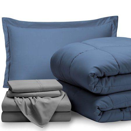 5 Piece Bed In A Bag Twin Xl Comforter Set Coronet Blue Sheet