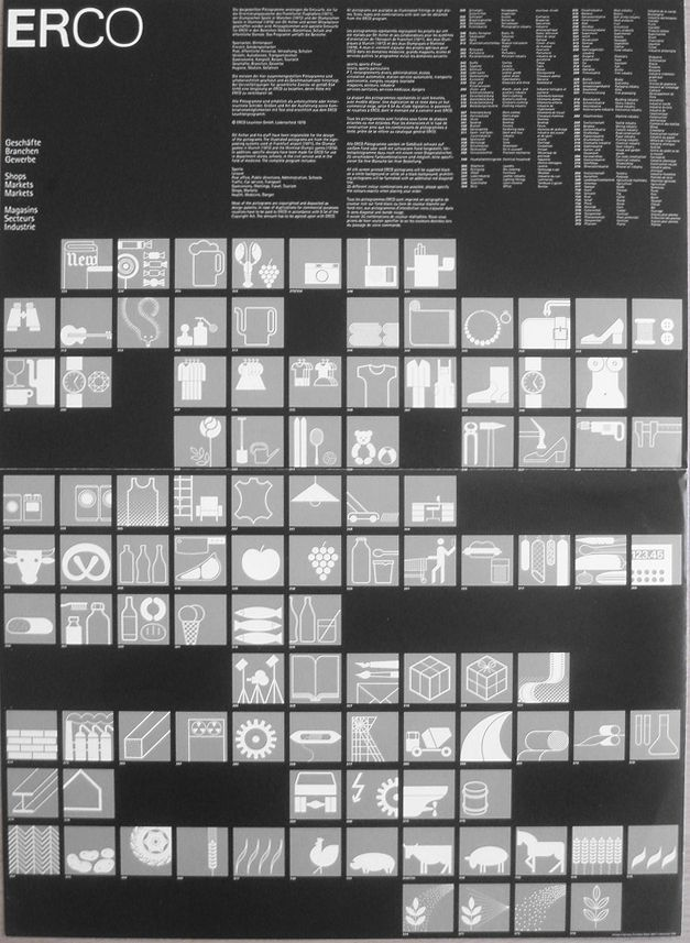 Otl Aicher and the pictograms. Made for the Olympic Games in Munich 1972, also used in Montreal 1976. Over 600 have been created.