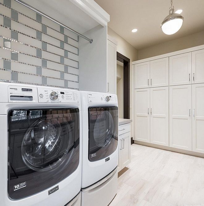 Laundry room Tile Ideas: Laundry room features glass tile and stainless penny round combo. & Laundry room Tile Ideas: Laundry room features glass tile and ...