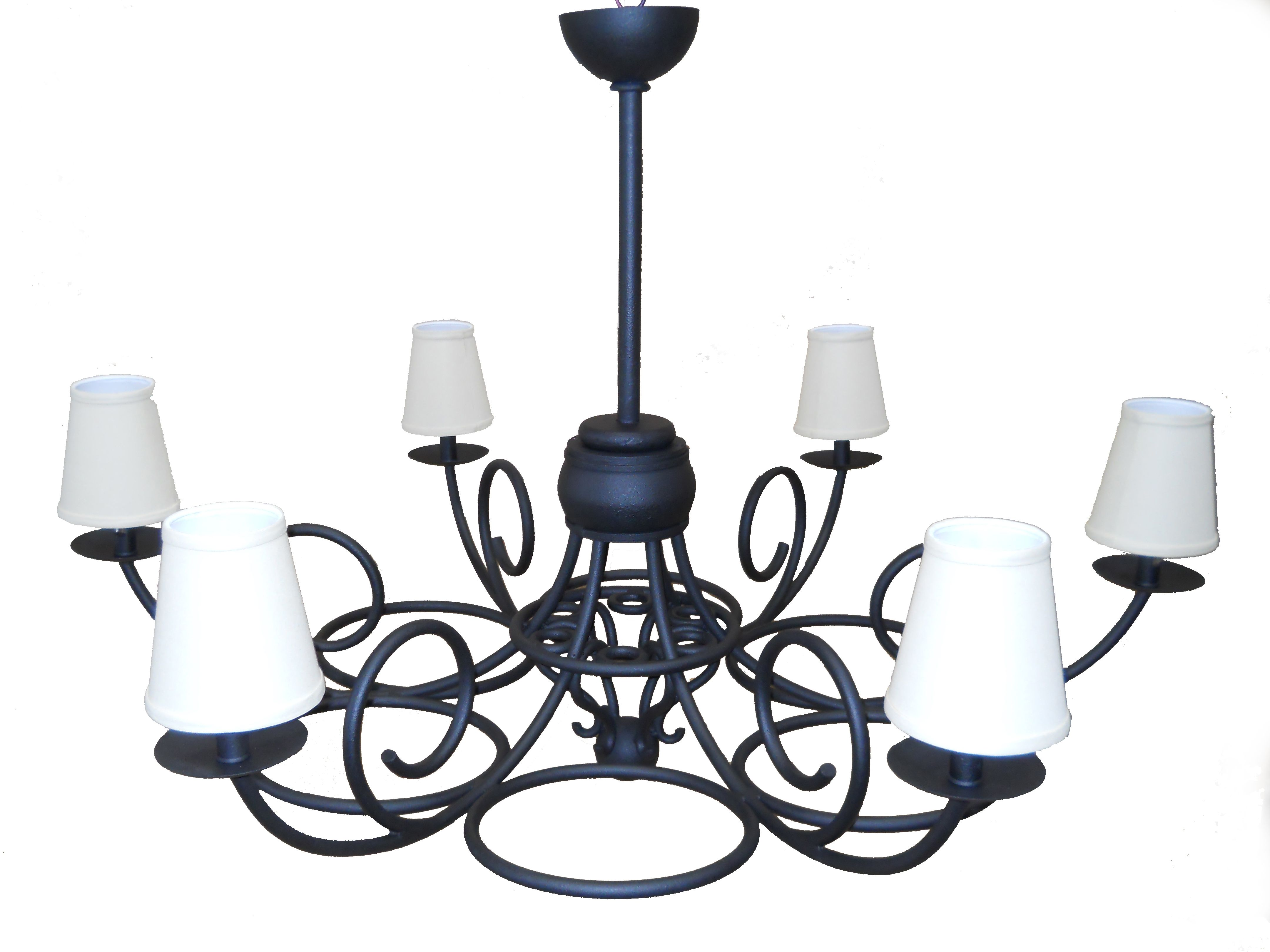 Hand forged black wrought iron traditional chandelier linen hand forged black wrought iron traditional chandelier linen shades classic iworks arubaitofo Image collections