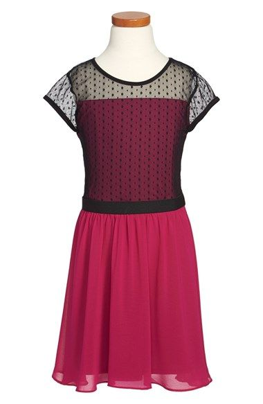 Free shipping and returns on Sally Miller 'Reese' Dress (Big Girls) at Nordstrom.com. Polka dot lace overlays the bodice of a sweet cap-sleeve dress finished with a twirly chiffon skirt. #sallymiller