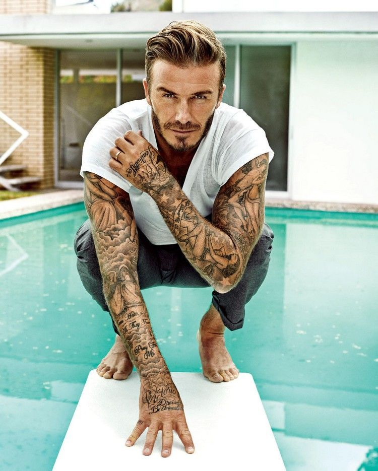 Footballer Tattoos - Famous players and their diverse tattoos -  The former Manchester United football star is without a doubt the king of fashion these days. #tatt - #diverse #Famous #Footballer #players #tattooideascollarbone #tattooideasforguys #tattooideasformen #tattooideasunique #tattoos