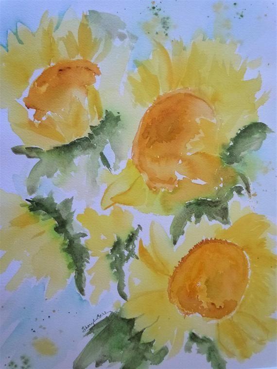 Buckets Of Sunshine Watercolor Notecard Watercolor Watercolor