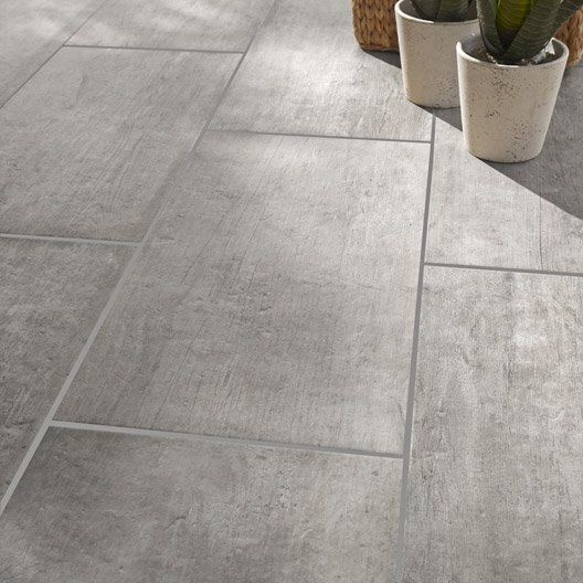 Carrelage int rieur saloon en gr s c rame maill gris for Carrelage sol rectangulaire