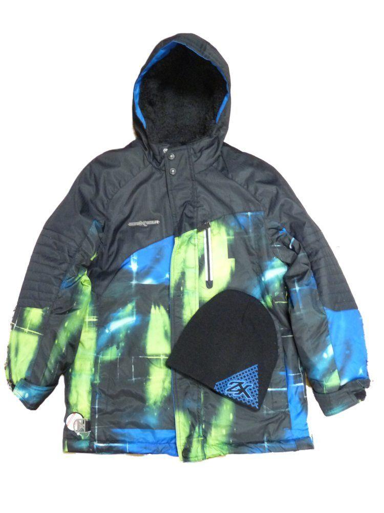 43e8813ec443 Zero Xposur Boy Black Green Blue Jacket Winter Snowboard Coat Beanie ...
