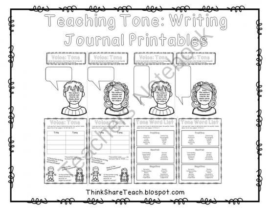 Teaching Tone Writing Journal Printables from