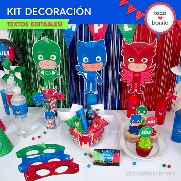 42cfcf41c6 Héroes en Pijamas  decoración de fiesta para imprimir