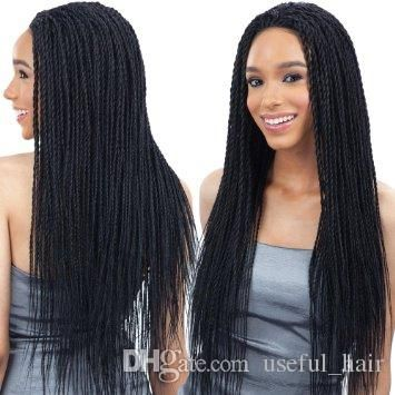 c4fbbe7ea5f 24inch Lace Front Curly Synthetic Box Braids Wigs 300gram Crochet Braids  Black Synthetic Wigs for Black