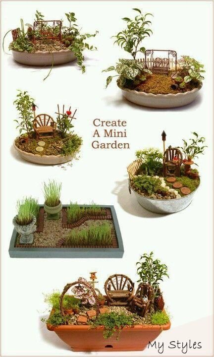 Fairy garden - layout ideas. Great activity for a family reunion. Fun for young - #container #garden