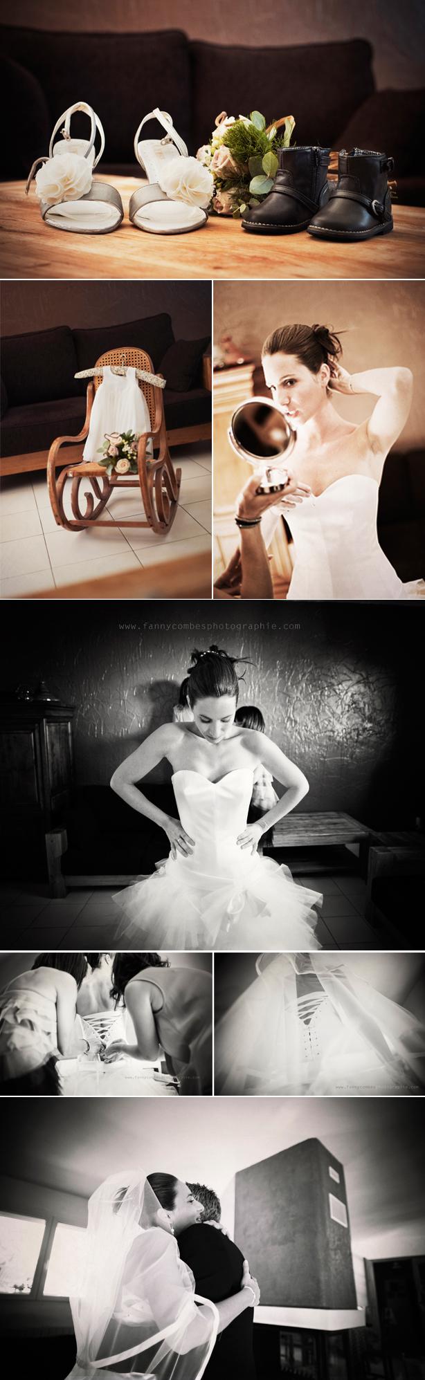 Photo chaussures mariée + chaussures enfant Photo robe enfant sur chaise en rotin Photos de préparation de la mariée