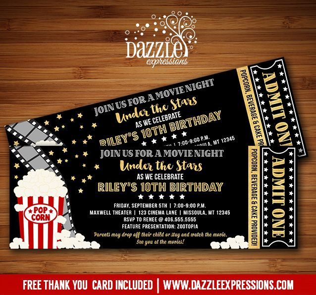 Printable under the stars movie ticket birthday invitation movie printable under the stars movie ticket birthday invitation black and gold outdoor theater or backyard movie night kids or adult party filmwisefo Choice Image
