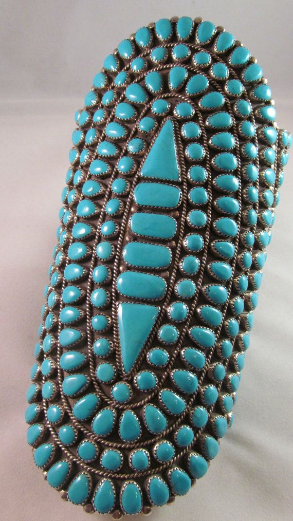 Vintage Zuni Sterling Silver And Turquoise Cluster Cuff Bracelet
