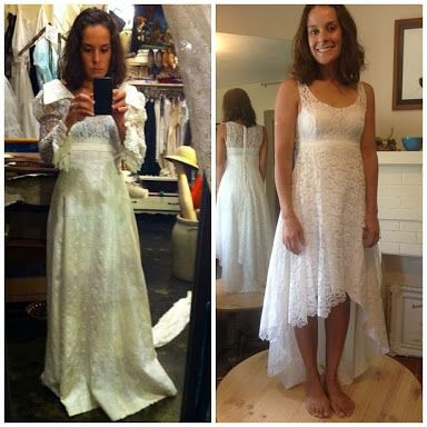 Mom S Old Wedding Dress Before And After Dress Makeover Old