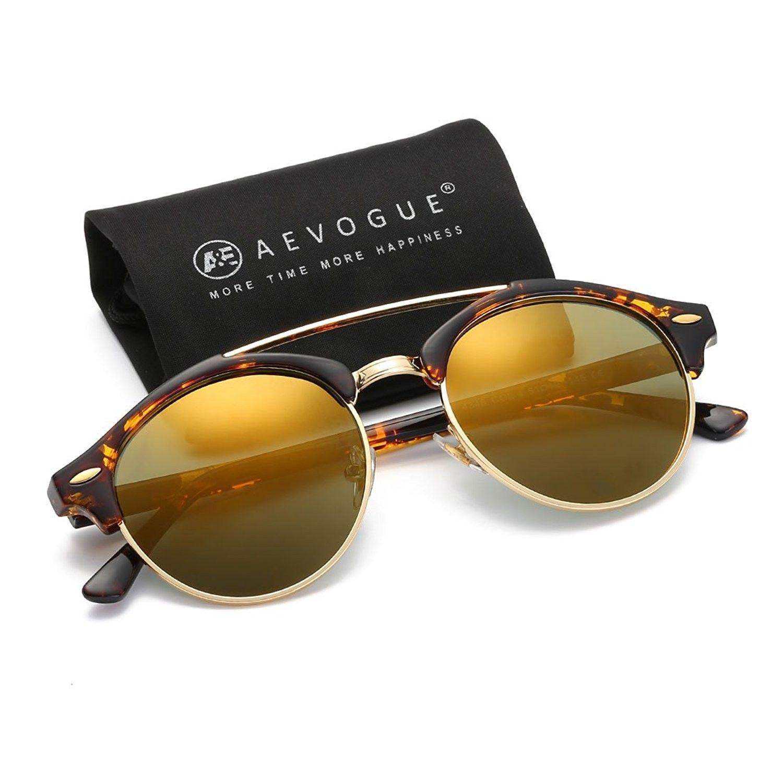 acb0ff2f410d1 Polarized Sunglasses Mens Semi-Rimless Retro Unisex Glasses AE0504 -  Tortoise gold - CU12O6NZIER - Women s