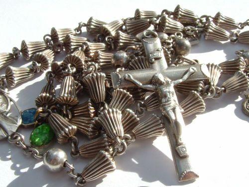 Rosary Cross Pendant Vintage Art Nouveau Sterling Silver Rose