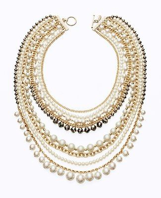 Ann Taylor Modern Classic Pearl & Chain Necklace