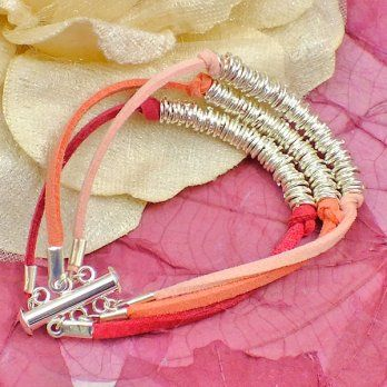Jump Ring Cluster Faux Suede Bracelet Kit - Pink Shades - from The Bead Shop UK
