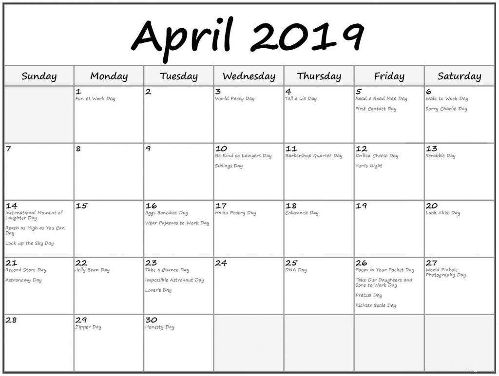 April 2019 Calendar In Pdf Word Excel Printable Template Holiday