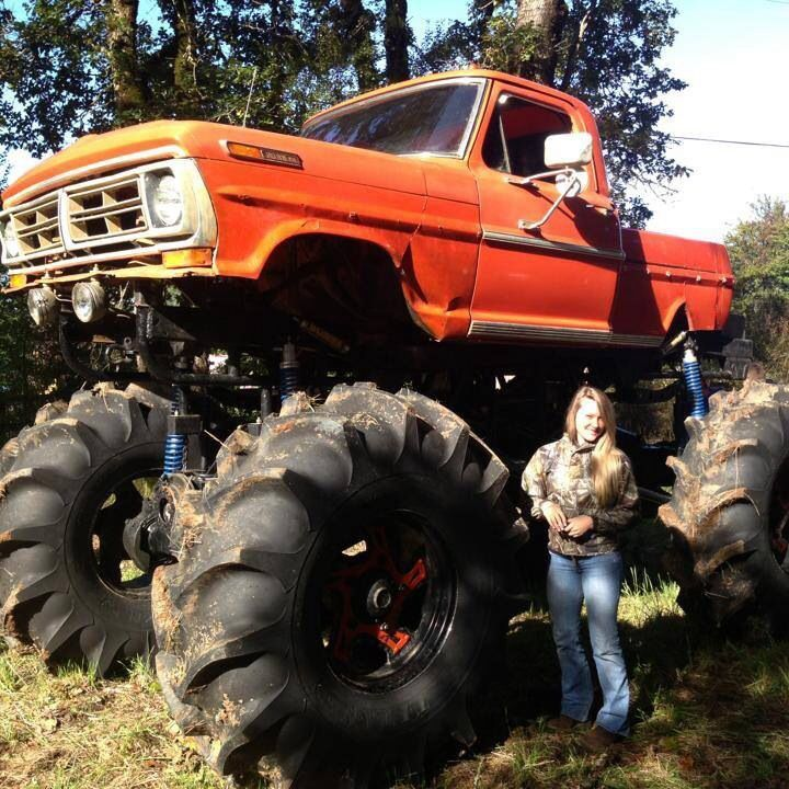 Giant Orange Color Vintage Ford Monster Mudder Truck Perrisautospeedway