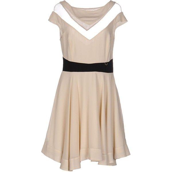 Mangano Short Dress ($56) ❤ liked on Polyvore featuring dresses, beige, beige dress, short sleeve mini dress, mini dress, zipper mini dress and sweetheart two-toned mini dress